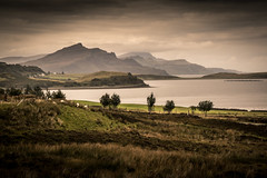 land and water (semitune) Tags: sky mountain tree skye water landscape scotland hill