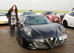 Carmen & Alfa 4C (Fast an' Bulbous) Tags: santa england woman hot sexy sports girl car speed hair glasses yummy pod nikon automobile long power dress boots outdoor fast mature vehicle 40 brunette mummy milf leggings pistonheads