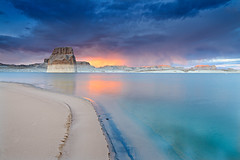 Lake Powell Clearing Storm (David Shield Photography) Tags: light sunset sky southwest color beach clouds landscape utah nikon explore lakepowell glencanyon lonerock clearingstorm explored