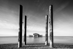 Temple (ShrubMonkey (Julian Heritage)) Tags: bw beach mono seaside ruins brighton decay tide cost westpier coastal remains a7r