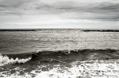 High tide (rhfo2o - rick hathaway photography) Tags: blackandwhite bw beach canon mono se seaside waves westsussex elmer bognor seadefences elmersands canoneos7d groynemarker rhfo2o