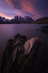 Lake Peho Sunset (surfneng) Tags: chile park sunset sky patagonia mountain snow southamerica water clouds rocks horns torresdelpaine lakepehoe painegrande