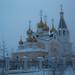 Igreja com fundo cinzento em Yakutsk