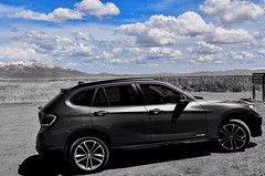 Ultimate Driving Machine - The sky is the limit! (KWinters Photography) Tags: auto blue sky blackandwhite white black mountains nature colors monochrome car nikon outdoor gray bmw nikkor ultimatedrivingmachine d5500