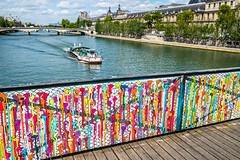 Melting Love Locks Art on Pont des Arts (Serendigity) Tags: city bridge cruise paris france seine river boat artwork melting lovelocks
