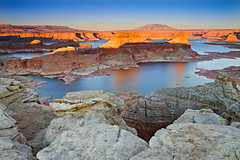 Gunsight Butte & Padre Bay (David Shield Photography) Tags: light sunset sky southwest color water landscape utah nikon explore overlook lakepowell glencanyon navajonation padrebay explored gunsightbutte alstrompoint