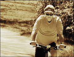 (Cliff Michaels) Tags: man bicycle sepia photoshop nikon tennessee d5000 pse9