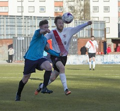 Ryan Holms in a race for the ball in the box (Stevie Doogan) Tags: park bon west accord scotland scottish first juniors division league holm clydebank superleague shotts bankies mcbookiecom