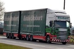 Stobart M343 PE61 KOW Kathie Helen A5 Rugby Truck Stop 17/3/16 (CraigPatrick24) Tags: road truck rugby cab transport lorry delivery vehicle trailer a5 scania logistics roadtrain stobart drawbar eddiestobart m343 curtainsider stobartgroup scaniar440 kathiehelen pe61kow rugbytruckstop stobartcurtainsider