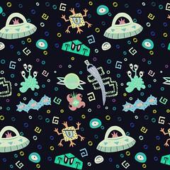 Space Monsters (minniemorrisart) Tags: wallpaper sky art wall digital painting wrapping print design artwork artist comic pattern arte space alien cartoon aliens cartoons