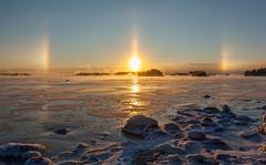 Halo (Antti Tassberg) Tags: morning winter sea sun snow ice sunrise espoo dawn halo lumi talvi sundog meri parhelia jää aurinko aamu auringonnousu sivuaurinko
