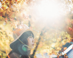 (another side view) Tags: autumn portrait woman art nature japan female analog mediumformat japanese artwork pentax autumnleaves brownie fujifilm artworks autumncolor 105mm f24 pentax67 pro400h  naturepeople womanportrait browniefilm