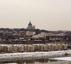 St. Paul Cathedral on a cold January day (thebeckydiaries) Tags: winter snow minnesota landscape cityscape january stpaul msp mississippiriver twincities stpaulcathedral winter2016