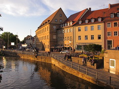 Am Kranen and Regnitz River at sunset, Bamberg, Germany (Paul McClure DC) Tags: architecture river germany bayern deutschland bavaria scenery bamberg franconia historic franken regnitz may2015
