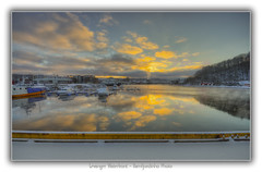Levanger Waterfront (Ramfjordinho) Tags: sky sun water norway clouds reflections evening harbor norge waterfront pentax hdr levanger trndelag photomatix
