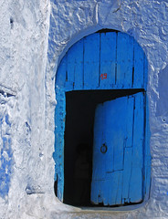 No. 19 (Ellsasha) Tags: door wood old blue texture architecture wooden ancient northafrica blues shades morocco walls chefchaouen