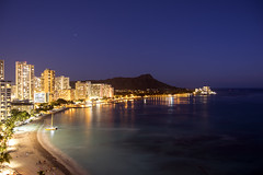 Waikiki shoreline by night (Guy: Jussum Guy) Tags: ocean beach water night reflections lights hawaii waikiki oahu diamondhead honolulu pentaxk3