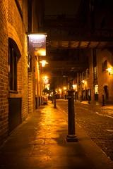 Shad Thames at night (iamfisheye) Tags: camera london sign night post olympus lamplight kit shadthames em1 17mm