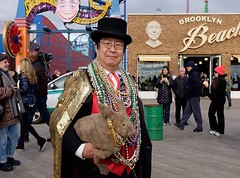 Dr. Takeshi Yamada and Seara (Coney Island Sea Rabbit) at the Coney Island Polar Bear Club's New Year Day Dipping (winter swimming event) at the Coney Island Beach in Brooklyn, New York on January 1, 2016.  20160101Fri- by Barry Yanowitz photography 90 (searabbits23) Tags: winter ny newyork sexy celebrity art beach fashion animal brooklyn asian coneyisland japanese star yahoo costume tv google king artist dragon god cosplay manhattan wildlife famous gothic goth performance pop taxidermy cnn tuxedo bikini tophat unitednations playboy entertainer samurai genius donaldtrump mermaid amc mardigras salvadordali billclinton hillaryclinton billgates aol vangogh curiosities bing sideshow jeffkoons globalwarming takashimurakami pablopicasso steampunk damienhirst cryptozoology freakshow barackobama polarbearclub seara immortalized takeshiyamada museumofworldwonders roguetaxidermy searabbit ladygaga climategate