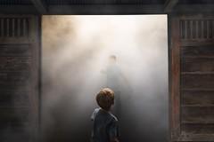 Circumspection (ShutterJack) Tags: door wood light fog kids angel barn children leaving heaven play darkness bright reaching library smoke huntington desire unknown calling encounter supernatural crepuscular steppingout