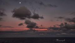 moonrise and sunset (manezob) Tags: ocean sunset moonrise