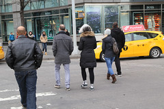 People crossing Broadway at Columbus Circle. (kevinrubin) Tags: us newjersey unitedstates northbergen