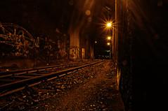 ([gegendasgrau]) Tags: city railroad light urban brown building architecture night yard lights graffiti licht nightshot nacht atmosphere eisenbahn railway tunnel nightlight infrastructure architektur braun trainyard beton infrastruktur ambiance 2013 atmo