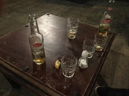 Drinks. £1 tequila shots. Liverpool, England.