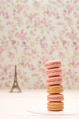 Macarons, Eiffel Tower on wood (prolisafoto) Tags: wedding paris floral vintage festive french dessert bokeh background postcard eiffeltower creative marriage retro souvenir card present romantic vanilla unusual concept elegant celebrate greeting luxury stylish macaron copyspase