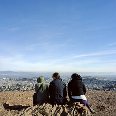 TWP2-5 (alexjacque) Tags: sanfrancisco california above city friends urban fall 120 6x6 mediumformat 50mm waiting watching hasselblad twinpeaks 500cm kodakportra160