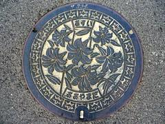 Oyamada Mie, manhole cover  (MRSY) Tags: flower japan lily  manhole  mie oyamada