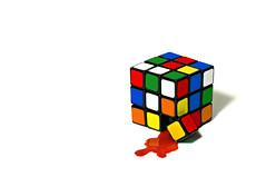 hurt (brescia, italy) (bloodybee) Tags: stilllife white colors fun hurt blood break geometry humor science explore cube mathematics bleed maths rubikscube 365project