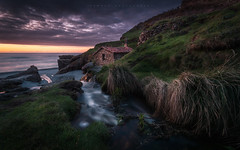 Mill House (Tomasz Raciniewski) Tags: ocean sunset sea sky house seascape mill water rio yellow clouds river landscape atardecer mar spain stream outdoor wide sigma asturias playa shore 1020 cantabrico vallina d3200
