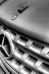 Mercedes' New Mascot (creepingvinesimages - struggling to keep up!) Tags: bw monochrome mercedesbenz suv hoodornament htc photomatix easternmole pse14 topazbw