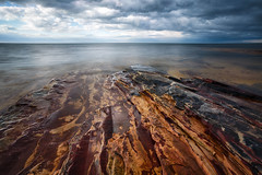 Water World (Brian Truono Photography) Tags: sky lake storm nature wet water rain rock stone clouds landscape nationalpark sandstone rocks nps michigan horizon shoreline upper shore glaciers geology nationalparkservice storms peninsula lakesuperior hdr highdynamicrange nationallakeshore