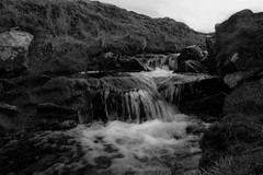 Running Water (JpDreads) Tags: uk travel blackandwhite white black nature wet water beautiful grass walking landscape island grey scotland countryside waterfall rocks north scottish peaceful running calm fresh clean foam sound remote islan btw