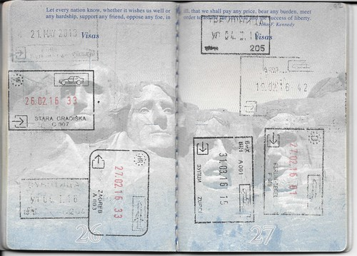 US Passport Multiple Entry Exit Stamps