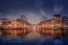 Amsterdam (l3v1k) Tags: city bridge houses sky urban reflection water netherlands lamp amsterdam architecture night clouds outdoors photography canal nikon cityscape arch exterior nobody scene illuminated nightlight behind lenscap michiel 500px ifttt buijse