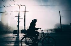 Silhouette (Rolling Spoke) Tags: street bridge light shadow sky urban sun girl amsterdam bike bicycle silhouette fog streetphotography bicicleta pole wires ciclismo bici brug velo fiets berlagebrug