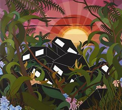 Eske Kath — There Were Houses Everywhere, 2011. Painting: Acrylic and gesso on canvas, 270 x 330 cm. AbstractSurrealContemporary (ArtAppreciated) Tags: sunset house art lines female sunrise buildings painting landscape artist bright contemporary surrealism fineart vivid surreal structure blogs artists danish gesso kath scapes eske cubism artblogs tumblr 2010s artoftheday artofdarkness date2011 artappreciated artofdarknessco artofdarknessblog