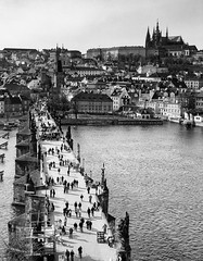 Bridge to the castle (trochford) Tags: old city bridge blackandwhite bw castle monochrome statue architecture canon river mono blackwhite exterior czech prague outdoor prag praha praskhrad medieval czechrepublic charlesbridge vltava hradcany hradany praguecastle stonebridge karlvmost malastrana malstrana lesserquarter