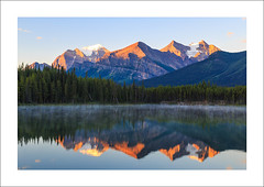 Three Amigos (clark_monson) Tags: sunrise alberta banffnationalpark icefieldsparkway mounttemple fairviewmountain herbertlake mountaberdeen mounthaddo