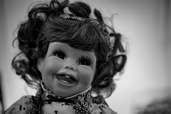 Doll #1 (David Guidas) Tags: old light bw white black dark hair eyes junk doll antique 14 creepy babydoll fujifilm xf35mm