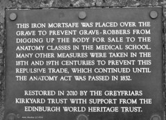Scotland Edinburgh a iron cover to stop grave robbers Greyfriars Kirkyard 2 April 2016 by Anne MacKay (Anne MacKay images of interest & wonder) Tags: 2 blackandwhite monochrome grave by anne scotland edinburgh iron picture stop cover april mackay greyfriars robbers kirkyard 2016