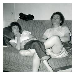 Gal Pals (vintagesmoke) Tags: bw white black monochrome found photo women cigarette snapshot smoking