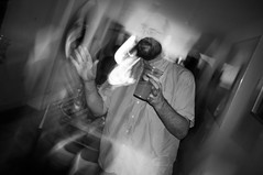 Another Clapton party (Gary Kinsman) Tags: party bw motion london houseparty blackwhite dance movement dj dancing candid flash late lighttrails unposed slowsync clapton e5 slowsyncflash 2015 fujix100 fujifilmfinepixx100