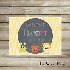 Little monster birthday invitation, Monster invite (The Cool Party) Tags: birthday party monster paper you 1st thank invitation card supplies invite invitations announcements printable