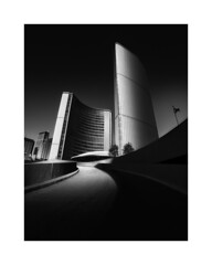 Revisiting City Hall (Todd (Whitby61)) Tags: windows urban bw ontario canada lines architecture buildings mono ramp downtown curves highcontrast shades flagpole minimalism rotunda tones torontocityhall nathanphillipssquare edifice rework