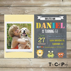 Little monster birthday invitation, Monster invite (The Cool Party) Tags: birthday party monster paper 1st invitation card supplies invite invitations announcements printable