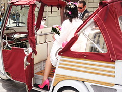 Florentine wedding (Victor W Adams) Tags: street city pink flowers wedding urban italy woman colour girl beautiful beauty fashion lady lumix bride florence italian shoes highheels carriage traditional citylife culture streetphotography lifestyle style marriage panasonic g5 firenze van tradition weddingdress fashionista corsage streetscape cultural stylish pinkshoes florentine fashionable threewheeled apevan